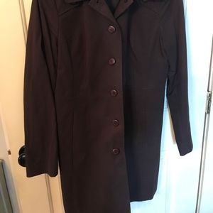 Ann Taylor trench coat brown sz/m button pockets